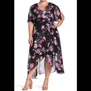 Eliza J Floral Print Wrap V-Neck High Low Dress